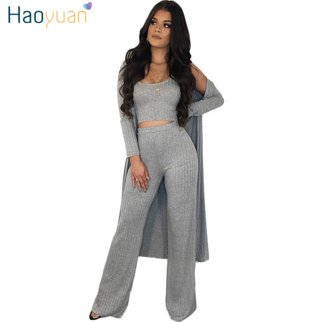 00f4127e277 HAOYUAN Autumn Winter Knit Ribbed 3 Piece Set Women Full Sleeve Long Coat  +Crop Top+Wide Leg Pants Suits Casual Clothes Outfits