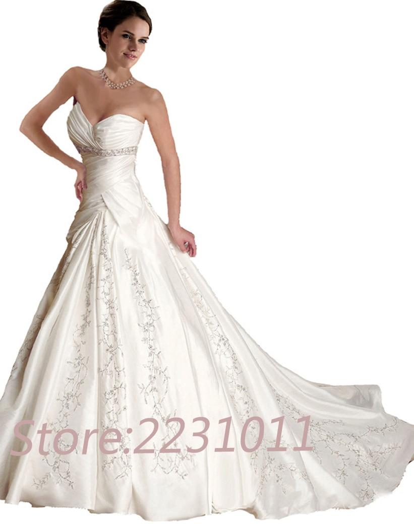 Free shipping white ivory sweetheart neck wedding dress for Plus size wedding dresses size 28