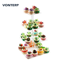 VONTERP 1 pc square transparent 4 Tier Acrylic Cupcake Display Stand /acrylic cake stand Square(6 between 2 layers)