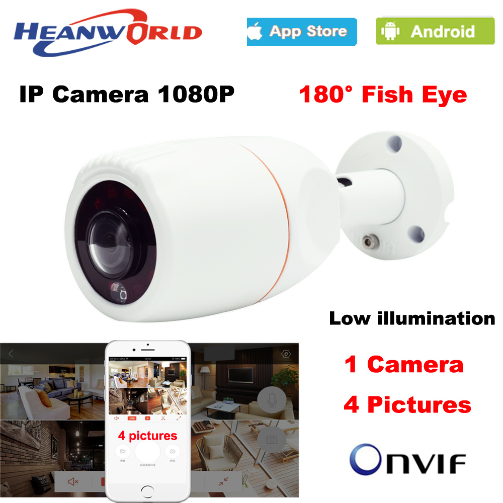 Heanworld HD 180 Degree Panoramic Fish Eye Lens IP camera 1080P outdoor waterproof CCTV network camera
