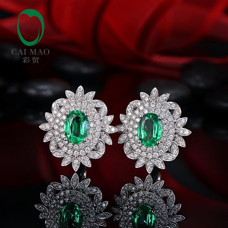 Classic Retro 14k White Gold 2.00ctw Natural Emerald Diamond Earrings Studs Gorgeous Jewelry ...