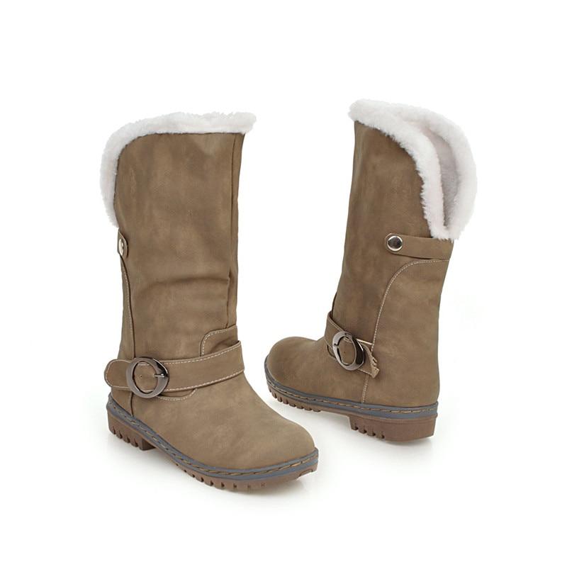 scarpe polpaccio peluche calde Asumer marrone metà punta 2018 rotonda inverno Size Plus donna Nero delle Moda fibbia mantenere da stivali kaki neve signore a xOAZOPa7