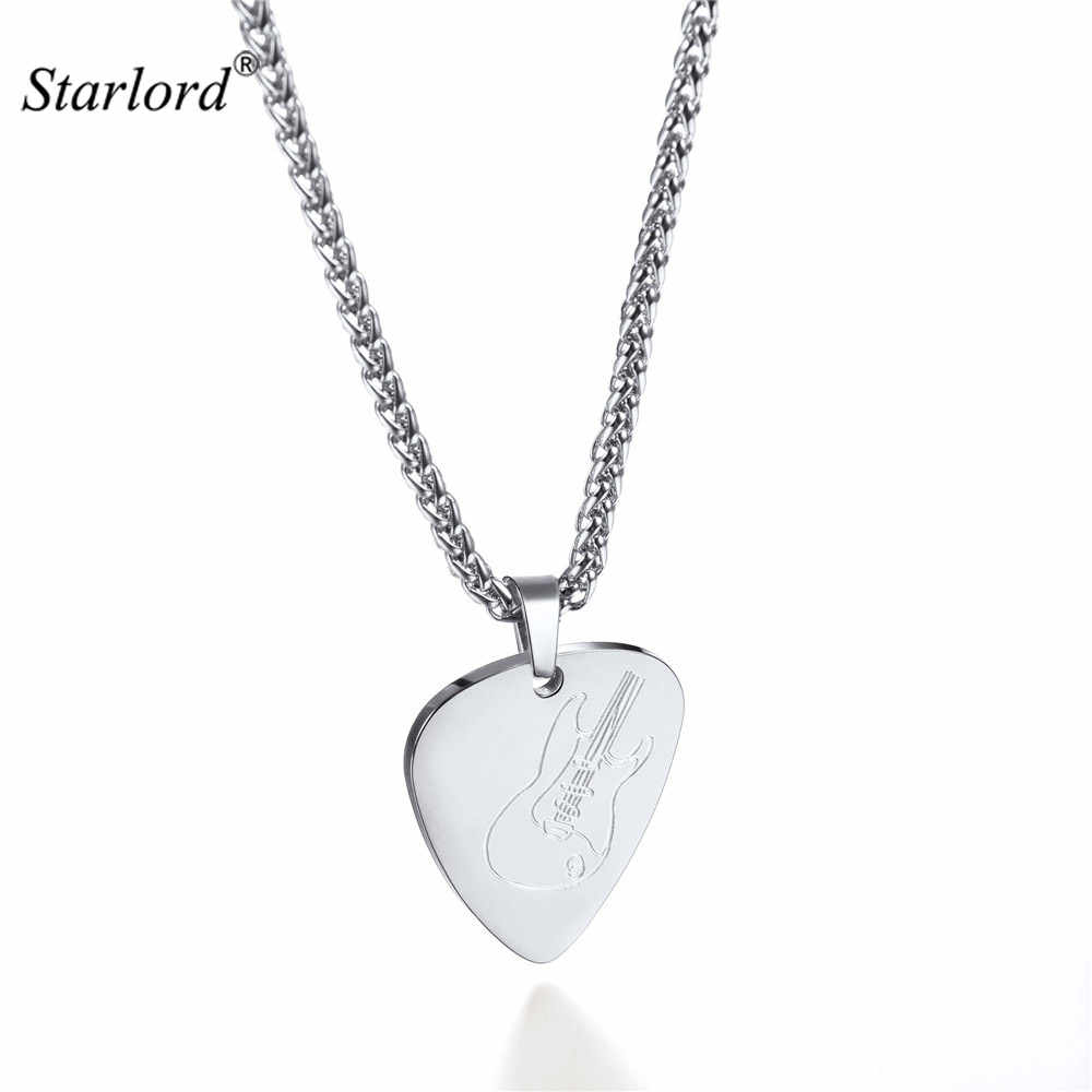 Guitar Pick Necklace & Pendant For Men/Women Silver Color Stainless Steel Punk Rock Music Jewelry Gift For Guitar Lover GP3271