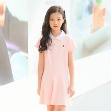 5162e5035 De algodón chico vestido rosa azul marino de corte Slim vestidos de manga  corta deportes vestido de niña para Adolescente niñas .