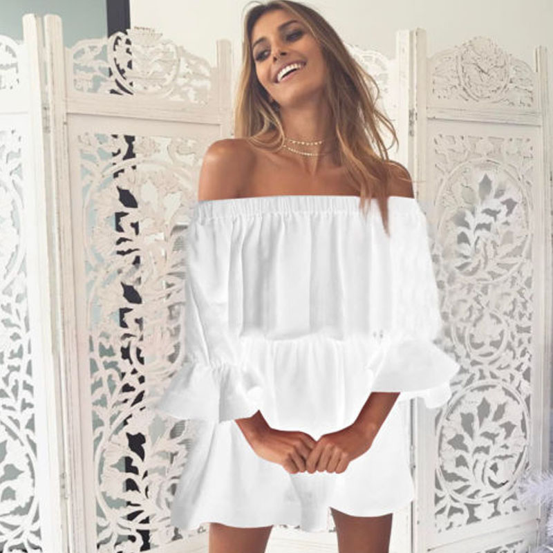 Fashion Summer ZANZEA Women Boat Neck Off Shoulder Solid Party Beach Loose Work Vestido Oversized 3/4 Flare Sleeve Mini Dress