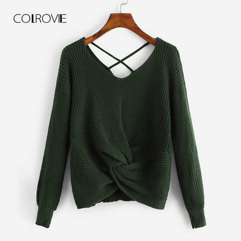 COLROVIE Twist Criss Cross Elegant Crop Green Sweater Women Tops 2018  Fashion Pullover Casual Winter Jumper 7af0b76ee