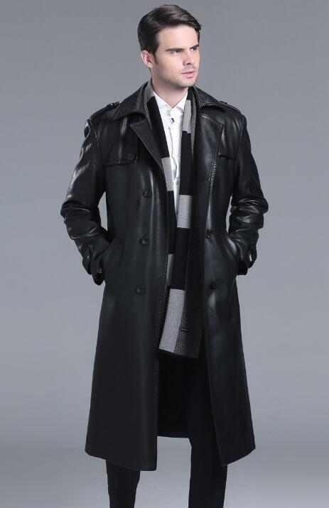 Double breasted leather coats men suits collar long coat mens leather trench coats thicken black autumn winter fashion M 4XL - 6