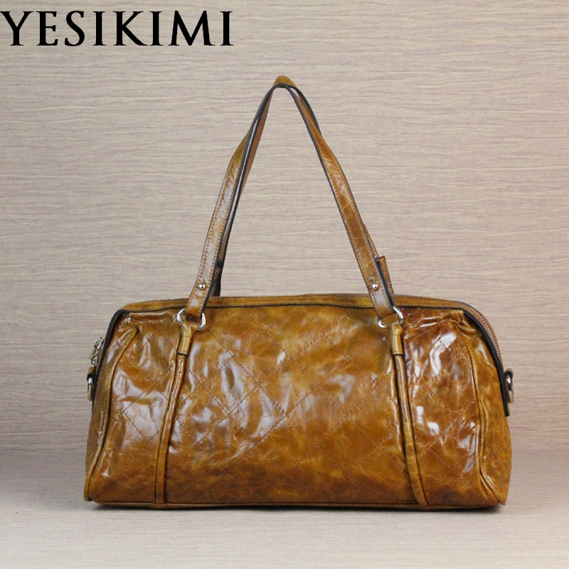 YESIKIMI 2018 new genuine handbags for women oil wax thread diamond lattic vintage  boston bag 39*20CM Female bolsos pillow bag YESIKIMI 2018 new genuine handbags for women oil wax thread diamond lattic vintage  boston bag 39*20CM Female bolsos pillow bag