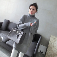 2018 New Autumn And Winter Thickening 100% Cashmere Sweater Female High Collar Pullover Long Loose Long sleeved Women Wool