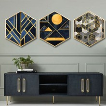 Nordic style Entrance decoration painting hexagonal home sofa wall color life abstract geometric lines mural