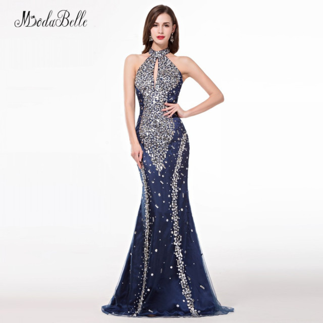 e288cdbbacf modabelle African Navy Blue Trumpet Mermaid Prom Dresses With Stones  Sparkle High Neck Crystal Bling Evening Dress 2018