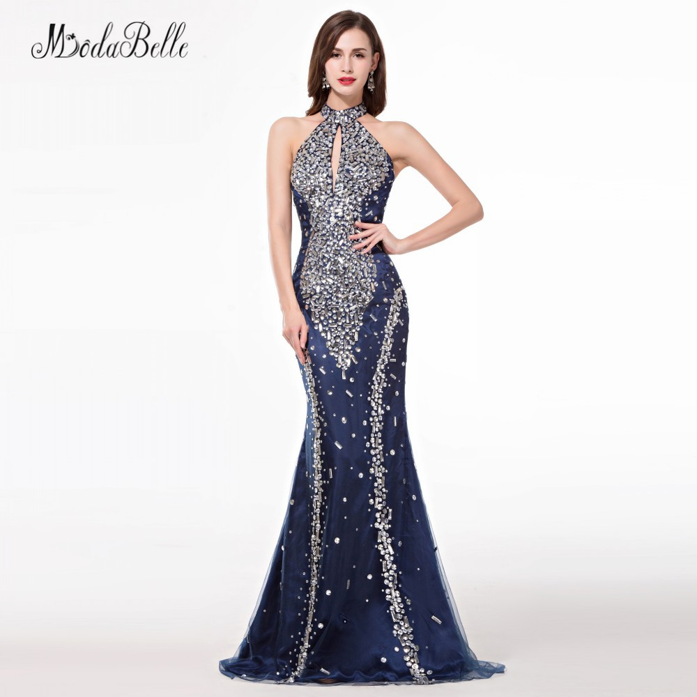 modabelle African Navy Blue Trumpet Mermaid   Prom     Dresses   With Stones Sparkle High Neck Crystal Bling Evening   Dress   2018