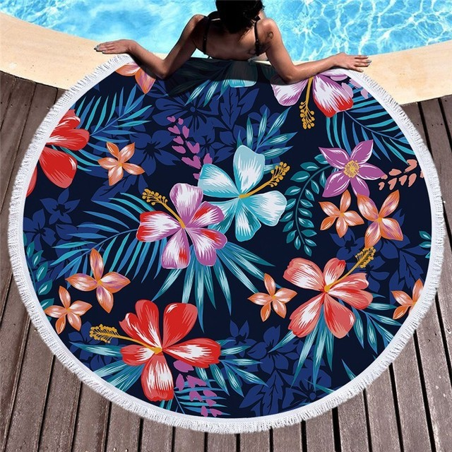 Flamingo Flower Leaf Round Beach Microfiber Towel