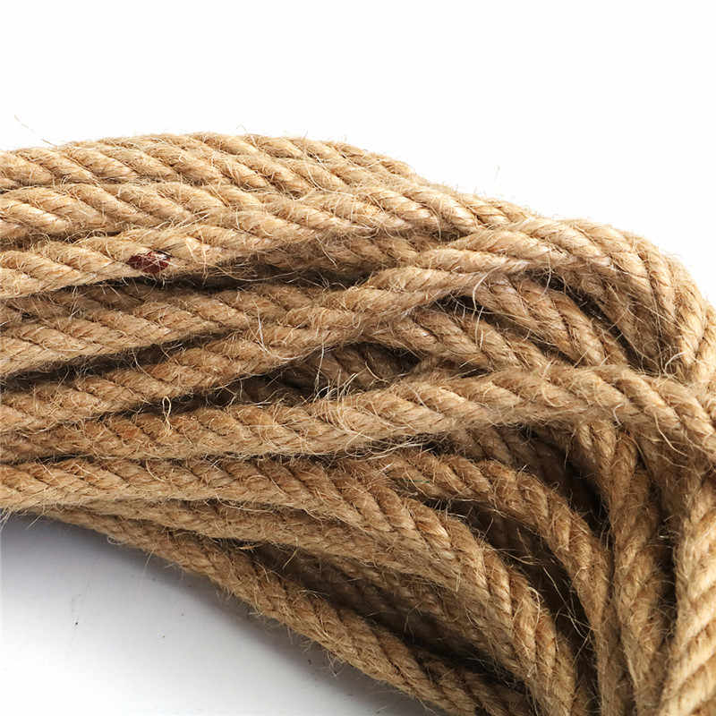 6mm 1m-50m Natural Jute Rope Twine Rope Hemp Twisted Cord Macrame String DIY Craft Handmade Decoration Pet Scratching