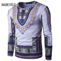 NIBESSER Brand 3D Printed Ethnic Style Tee Shirts Men Long Sleeve O Neck T Shirts Casual