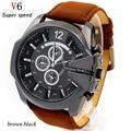 Promoção dos homens relógios top marca de luxo v6 de quartzo dom relógio de ouro à prova d' água de couro analógico de pulso relogio masculino 2016