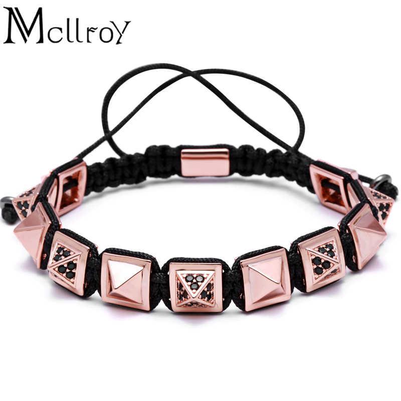 Mcllroy Pyramid Connector kwadratowe koraliki plecionki mężczyźni makrama bransoletka i bransoletka plecionka makrama bransoletka kobieta urok