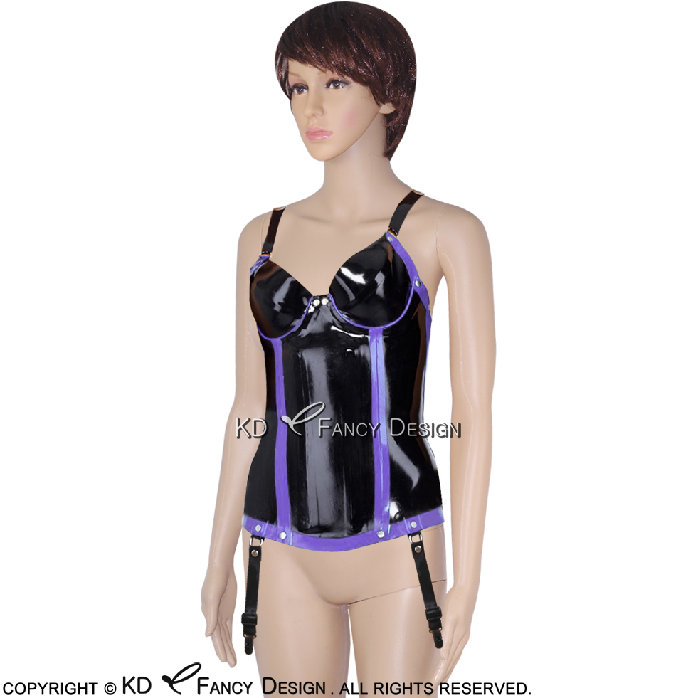 Black With Purple Trims Decorations Sexy Latex Corsets With Zipper Front Lacing At Back Rubber Bustiers Top CY-0007