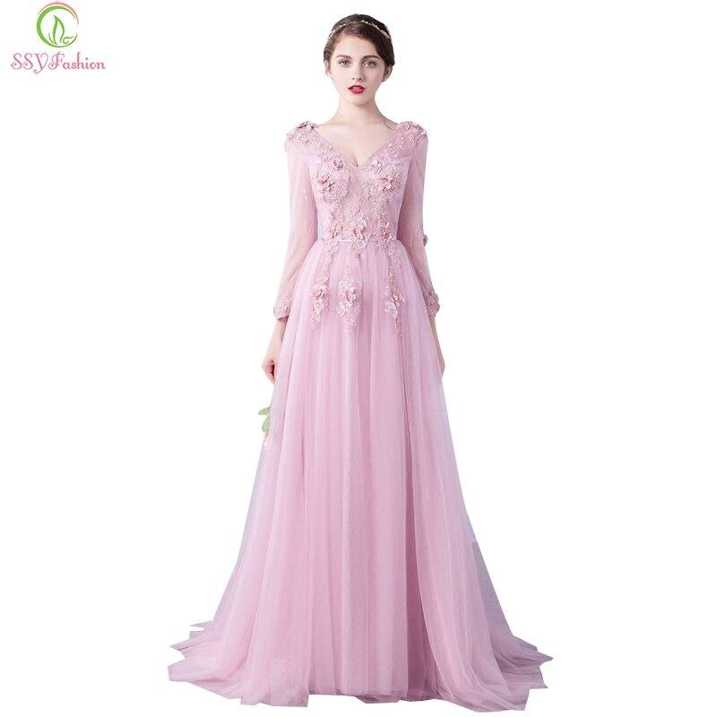 Ssyfashion Long Sleeve Wedding Dresses The Bride Elegant: Aliexpress.com : Buy New SSYFashion Evening Dress The