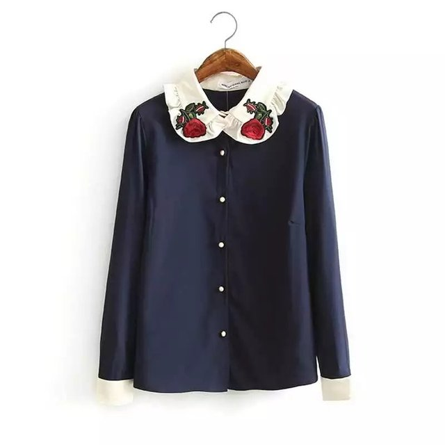 7dcf0c6743d529 2017 Spring Women Floral Embroidery Blouse Vintage Red Rose Collar Long  Sleeve Navy Blue Shirts Blusa Feminina Casual Tops 2727
