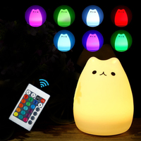 WERTIOO Colorful Cat Silicone LED Night Light Rechargeable Touch Sensor Light 2 Modes Children Cute Night