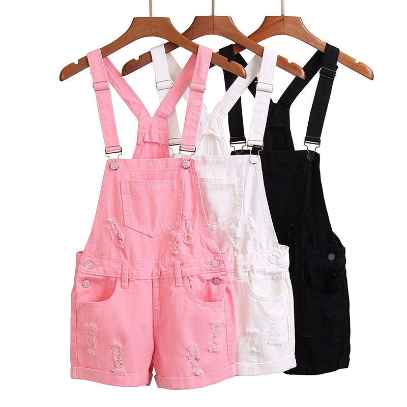 Korea High Waist Demin Overalls Fashion Loose Ripped Hole Rompers Women Casual Playsuits Sweet Girls Pink Cute Kawaii Shorts