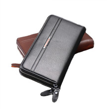 New large capacity wallet male genuine Leather Luxury Brand Men Zipper Wallets Long Men Purse Clutch Business Wallet