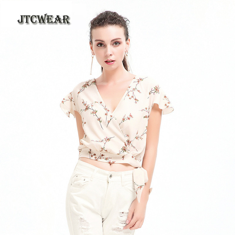 JTCWEAR Woman V Neck Crop Tops Chiffon Short Sleeve Sexy Belly Shirts Waist Ties Bandage ...