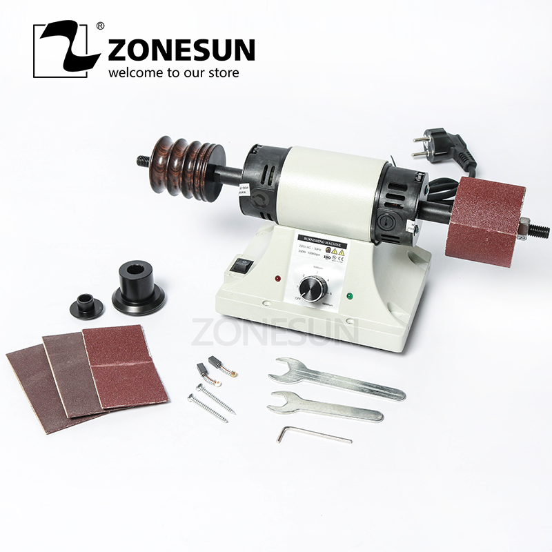 ZONESUN Vegetable Tanned Leather Burnishing Machine Mini Desktop Leather Edge Grinding Machine Polishing Tool Side Polisher 220V