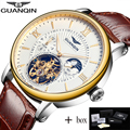GUANQIN Tourbillon Mens Watches Top Brand Luxury Gold Men Watch Automatic Mechanical Leather Wristwatches relogio masculino