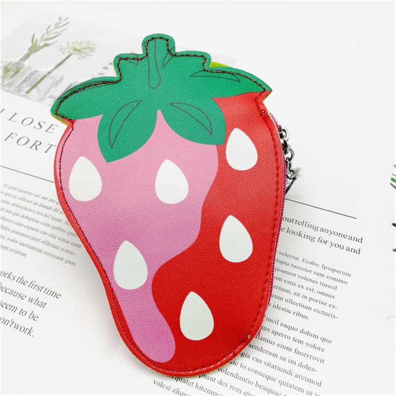 Quer Ir Bonito Mini Frutas Crianças Dos Desenhos Animados Saco Chave Chaveiro Bolsa Da Moeda Pequena Bolsa Com Zíper Carteiras De Couro Da Senhora do Sexo Feminino Mini bolsa