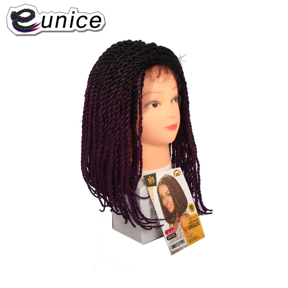 EUNICE 16 pouces courte perruque Crochet synthétique dentelle avant tresses perruques Bob coiffure américain Afro 2X sénégal torsion perruques pour les femmes