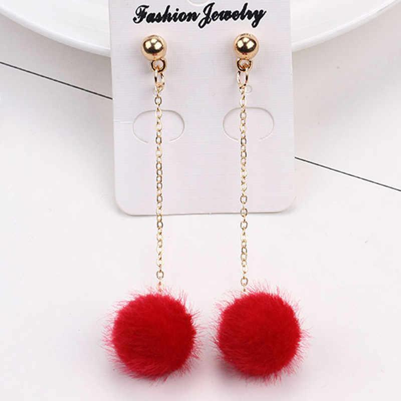 EK532 New Fashion Soft Fur Ball PomPom Earrings For Women Pink/White/Black Statement Long Tassel Gold Plush Hair Drop Brincos