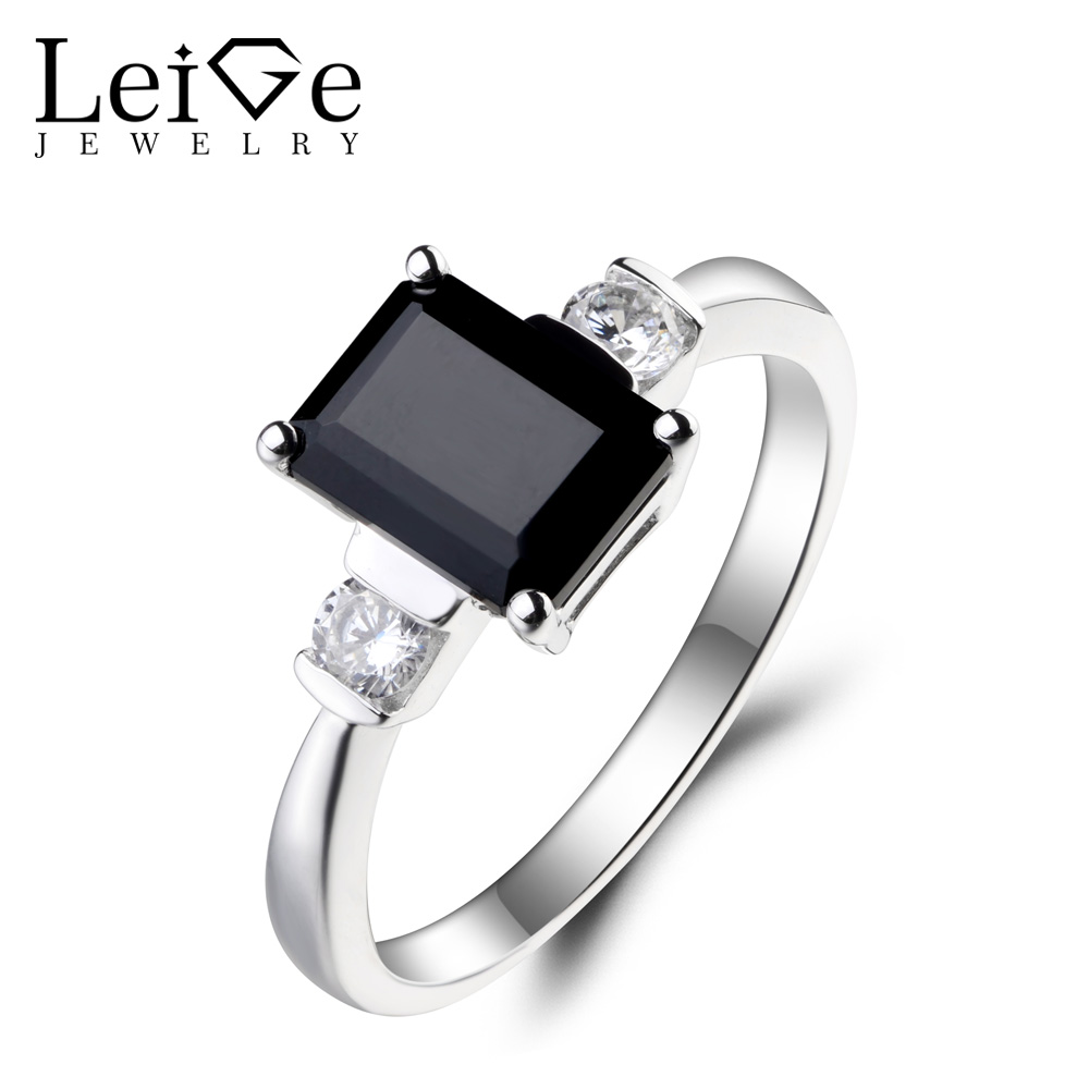 Leige Jewelry Real Natural Black Spinel Ring Anniversary Ring Emerald Cut Black Gemstone Genuine 925 Sterling Silver for Women цена