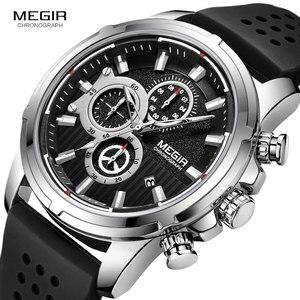 Image 3 - MEGIR צבא ספורט קוורץ שעונים גברים הכרונוגרף סיליקון רצועת שעוני יד יוקרה למעלה מותג Relogios Mascuoino שעון 2101 כסף