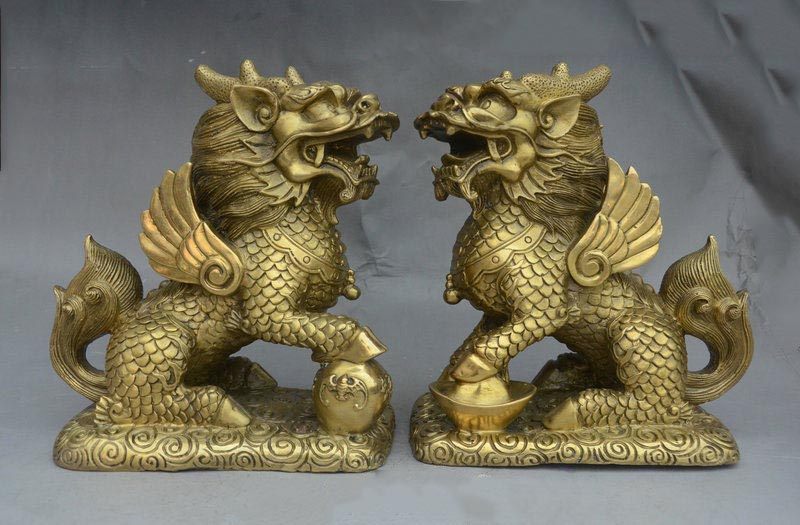 9 China FengShui Brass Wealth YuanBao Dragon Kylin Unicorn Beast Statue Pair 9 China FengShui Brass Wealth YuanBao Dragon Kylin Unicorn Beast Statue Pair