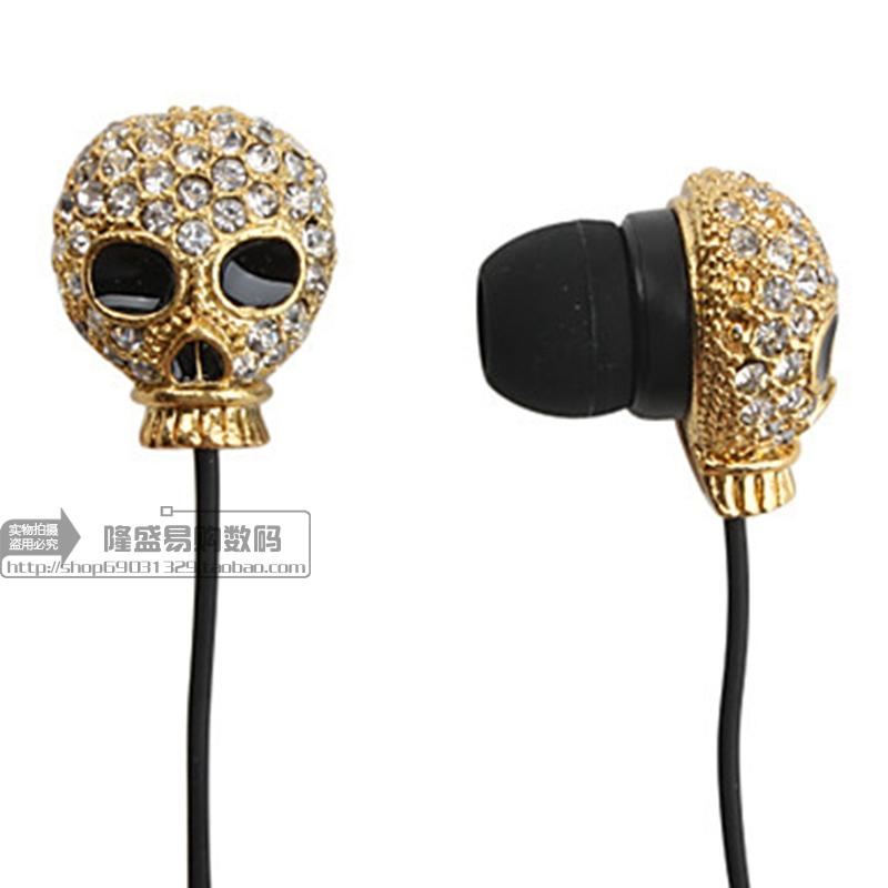 Skull Bling Design In Ear Earphone For Xiaomi Mi4 Mi5 Redmi Note 2 3 For Samsung iPhone 6 5 With Remote And Mic
