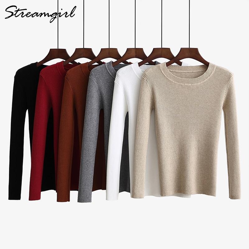 Streamgirl Basic Sweater Women Autumn 2018 Ribbed Winter Woman Sweater Knitting Pullovers Knitwear Black Sweaters For Women