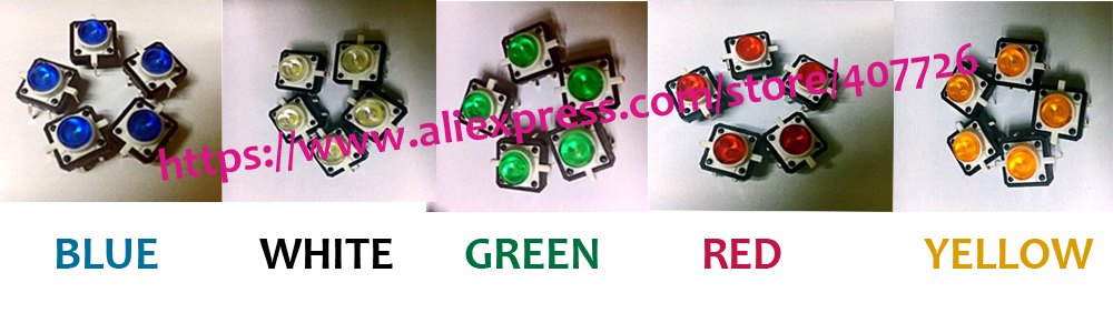 Free shipping 25pcs/pack 12X12X7.3 push button Led Tact Switch illuminated switch DIP 5colors