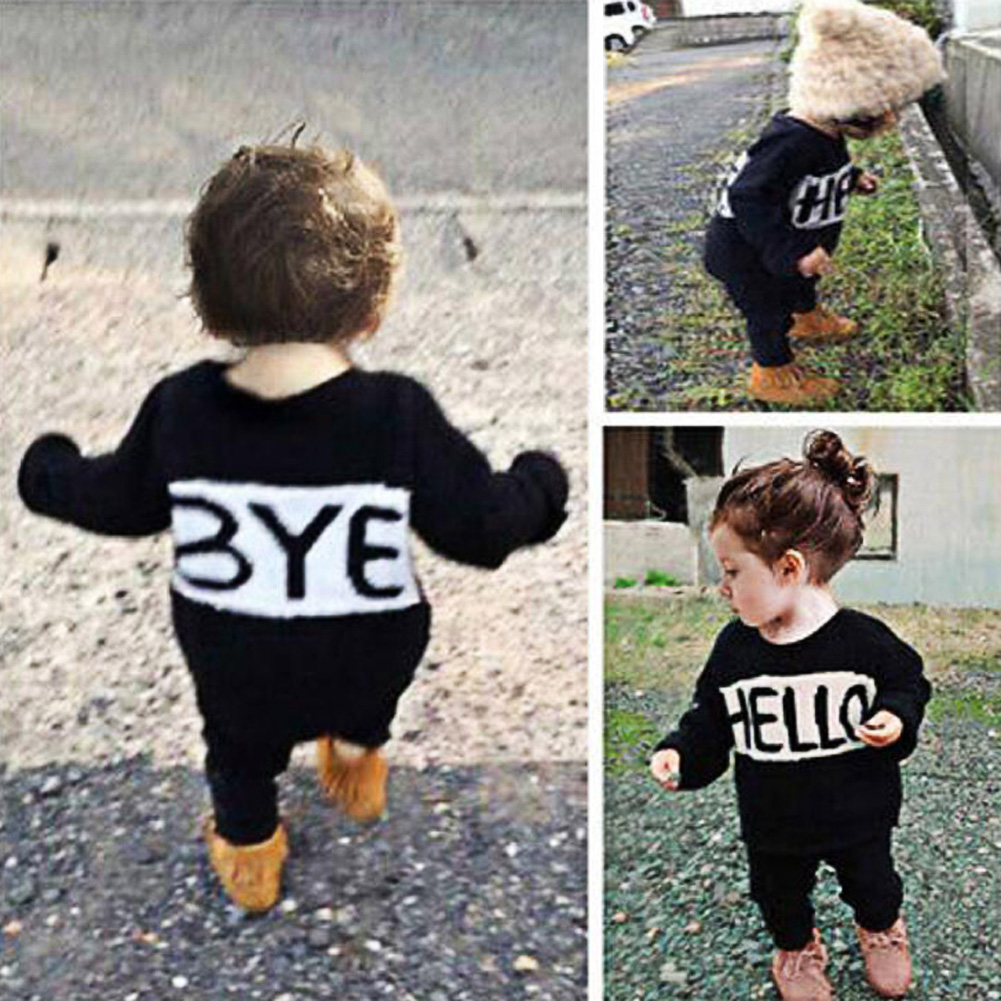 2Pcs/Set Newborn Baby Girls Sports Clothes Set Hello Bye Letter Print Kids Long Sleeve Sweater Tops+Pants Outfits Set For 1-6Y letter print long sleeve sweatshirt dress page 1