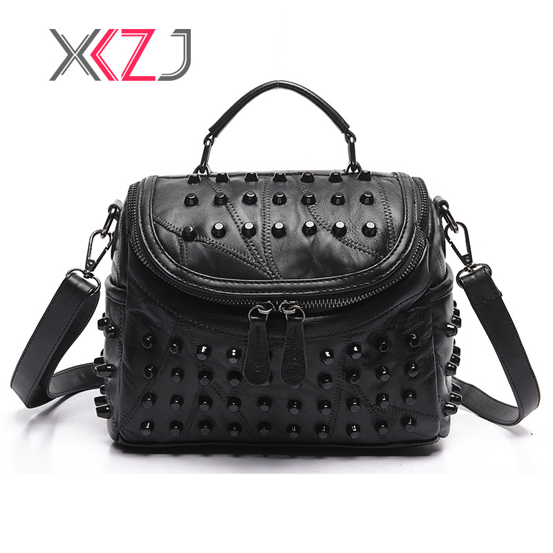 Luxury Rivet Women Genuine Leather Bag Sheepskin Messenger Bags New Women Famous Brands Designer Female Handbag Shoulder Bag Sac luxury women genuine leather messenger bags sheepskin handbags lady famous brands designer handbag shoulder back bag sac ly157 page 9