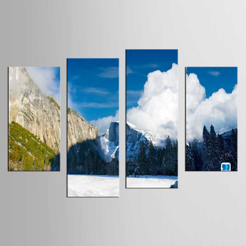 4 pieces / set HD Printed Snow Mountain Plateau Paintings Canvas Living Room Wall Art Decor Print Poster Picture Canvas