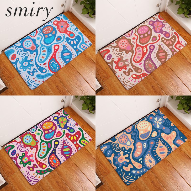 Smiry commercial entrance door mats colorful cashew flowers carpets water absorption living room bedroom decoration stair rugs