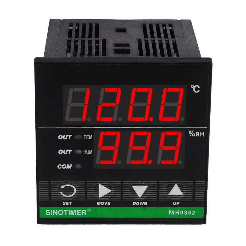 72*72 mm Digital Temperature and Humidity Controller MH0302 with Sensor for Heat Cool Humidification or Dehumidify 8 stages programmable by electric valve or fan control digital temperature and humidity sensor with greenhous