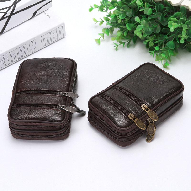 BISI GORO On The Belt Multi-function Phone Coin Card Men Travel Bag Cow Leather Outdoor Waist Bag 2019 New Fashion Heuptas Heren