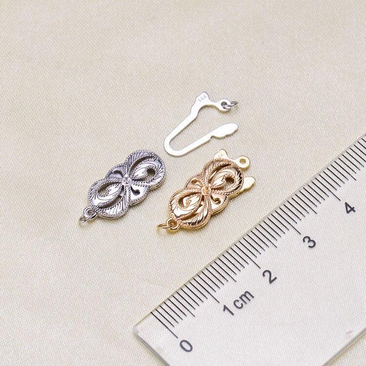 1 pièces G14K Or Fermoirs & Crochet Fleur Coeur Multi Motif Évider Fermoirs Bijoux Pour La Fabrication De Bijoux - 2