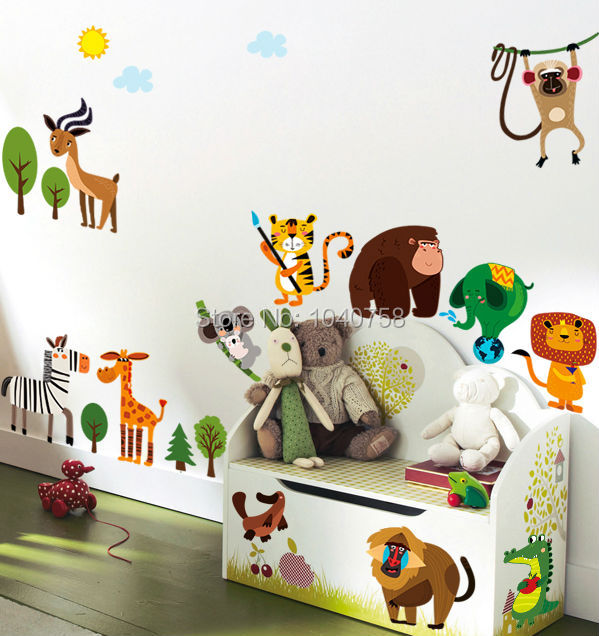Buy jungle adventure animals wall - Stickers jungle chambre bebe ...