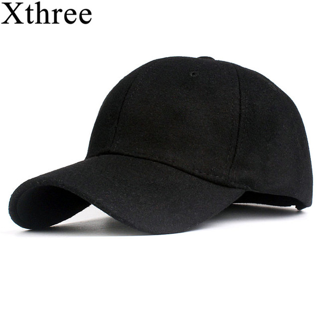 0e5835132ffc8 Xthree solid men s wool baseball cap winter cap warm bone snapback hat  gorras fitted hats for women