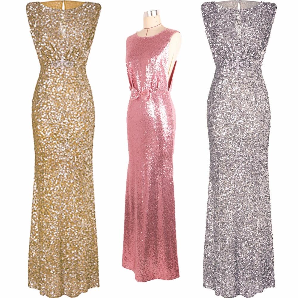 Lujo Rosa oro plata long sequin vestido arco o Masajeadores de ...