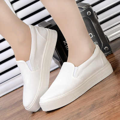 Puimentiua אביב נשים לגפר נעלי סניקרס נעלי גבירותיי להחליק על לנשימה רדוד מזדמן מוקסינים בתוספת גודל chaussure